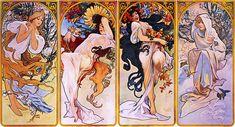 Four Seasons by Alphonse Mucha, circa 1895