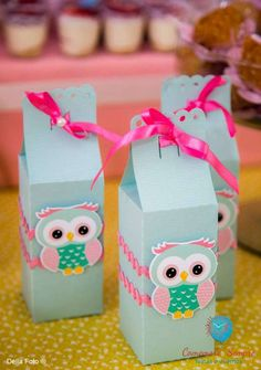 Fun favor boxes at an owl birthday party! See more party ideas at CatchMyParty.com!