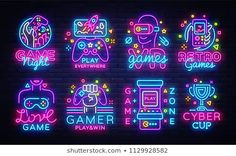 Find Big Collection Video Games Logos Vector stock images in HD and millions of other royalty-free stock photos, illustrations and vectors in the Shutterstock collection. Thousands of new, high-quality pictures added every day. Gfx Design, Neon Design, Graphic Design, Game Logo Design, Logo Instagram, Video Game Logos, 80s Video Games, Neon Logo, Neon Aesthetic