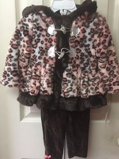 Girls Winter Outfit Pink Brown Leopard Print Size 24 Months Toddler Faux Fur   | eBay