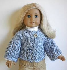 American Girl Doll Knitted Sweater Jacket in Light by Lavenderlore, $18.00