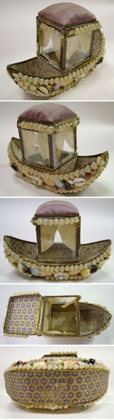 Victorian Shell Art Gondola Boat Pincushion Box