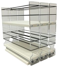 Organize cabinet spices or other small kitchen items in this slim multi-level organizer rack from Vertical Spice. This clear-view rack has 3 slide out drawers. Spice Rack Vertical, Spice Rack Narrow, Spice Rack Organization, Spice Storage, Kitchen Organization, Kitchen Storage, Cabinet Drawers, Storage Cabinets, Kitchen Cabinets