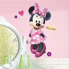 Wall Decals of Giant Minnie Mouse in Pink Polka Dot Dress - Minnie Mouse Wall Decor for Nursery, Toddler Room or Preschool - Minnie Mouse Wall Stickers for Kids Rooms