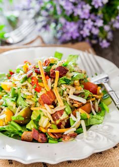 Chopped Salad with Orzo and Corn - a refreshing chopped salad loaded with fresh veggies, orzo, roasted corn and bacon, drizzled with an easy lemon vinaigrette.