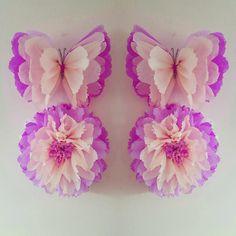 1 pared flor mariposa 1 chicas cumpleaños fiesta por Ohsopretty37