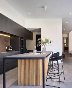 Timber Kitchen, Industrial Style Kitchen, Modern Kitchen Design, Interior Design Kitchen, Home Decor Kitchen, Kitchen Living, New Kitchen, Kitchen Benchtops, Kitchen Tiles
