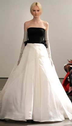 Vera Wang Spring 2014: Strapless gown with diamond quilted bodice and silk organza skirt