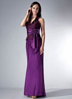 Halter Eggplant Purple Ruched Stokesley Bridesmaid Dress with Bow