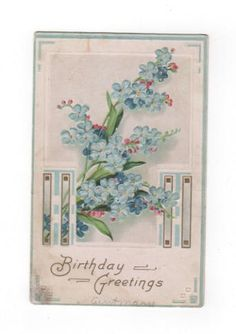 Birthday Greetings 1910. Blue floral antique postcard embossed with gold accents. Collectible ephemera card scrapbook embellishment collage. by PickleladyPapers on Etsy