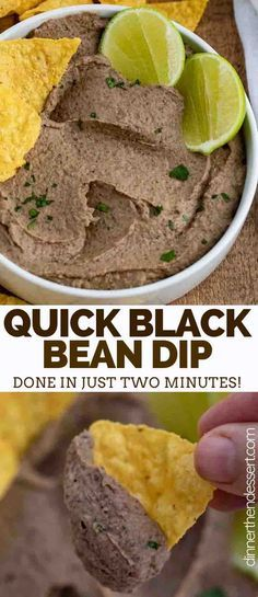 Black Bean Dip is the PERFECT savory dip to serve with tortilla chips at a party made from black beans sour cream lime juice and seasoning ready in under 5 minutes! Black Bean Hummus, Black Bean Dip, Appetizers For Party, Appetizer Recipes, Party Snacks, Mexican Appetizers, Black Bean Paste, Bean Chips, Sour Cream Dip