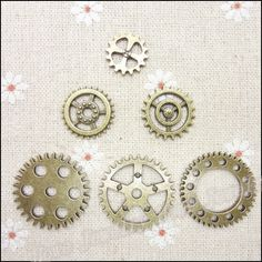 Wholesale Mix 108 pcs Vintage Charms Gear Pendant Antique bronze Fit Bracelets Necklace DIY Metal Jewelry Making