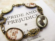 """Jane Austen's """"Pride and Prejudice"""" Bracelet. According to the site this comes from, it is hand-made in Germany. There are other Jane Austen hand-made bracelets available including """"Sense and Sensibility."""" I think one of these bracelets would make a lovely gift for the person being honored with a Jane Austen birthday party."""