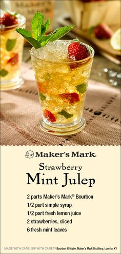 The Maker's Mark Strawberry Mint Julep: a delectable new take on the beloved classic Mint Julep. Sweet with just the right touch of tanginess, this easy-to-make julep recipe gets any occasion off to the races. Just click-thru for the recipe. Cocktails, Cocktail Drinks, Cocktail Recipes, Drinks Alcohol Recipes, Whiskey Recipes, Alcoholic Drinks, Refreshing Drinks, Summer Drinks, Bar Drinks