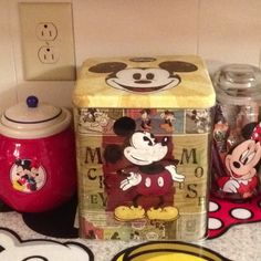 Mickey and Minnie canisters, cookie jar