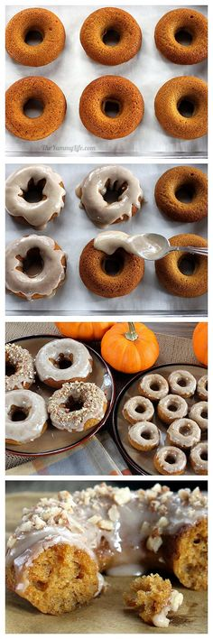 Whole Grain, Low Fat Maple Pumpkin Spice Baked Donuts (& Muffins). gluten-free option. www.theyummylife.com/Maple_Pumpkin_Donuts