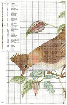 Cross-stitch Bird, part 1... with color chart...   carpintero