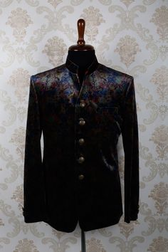#Grey multicoloured #velvet slim fit #luxurious #suit with mandarin collar -ST377