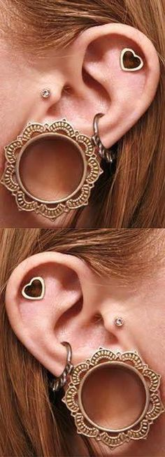 Unique Ear Piercing Ideas at MyBodiArt.com - Brass Tribal Ear Plugs, Gauges, Tunnels for Women - Heart Cartilage Earring - Crystal Tragus Stud