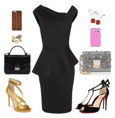 """""""Inighi Peplum Dress"""" by eme-bassey on Polyvore featuring Imagine by Vince Camuto, Furla, Jimmy Choo, Christian Louboutin and Kate Spade"""