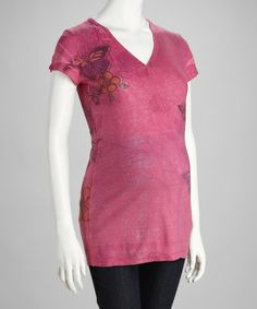 Take a look at this Fuchsia Short-Sleeve Maternity V-Neck Top by Love My Belly on #zulily today!