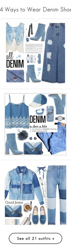 """""""14 Ways to Wear Denim Shoes"""" by polyvore-editorial ❤ liked on Polyvore featuring denimshoes, waystowear, Gianvito Rossi, Chantecaille, The Hand & Foot Spa, Sans Souci, Jimmy Choo, A.X.N.Y., Topshop and alldenim"""