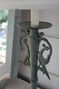 Mixed Provence & Chateau Gray and dry brushed letting the copper show through...  Beautiful...