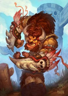 Draw Creatures Minotaur for MTG (James Loy Martin) - Details: Glossy Cardstock, 12 pt, x Sleevable Fantasy Races, Fantasy Warrior, Final Fantasy, World Of Warcraft Characters, Fantasy Characters, Fantasy Monster, Monster Art, Buffalo S, Dragons