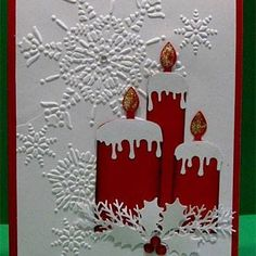 Christmas Candles by raindear - Cards and Paper Crafts at Splitcoaststampers by PrincessBella Christmas Paper Crafts, Christmas Cards To Make, Xmas Cards, Handmade Christmas, Cricut Christmas Cards, Mery Chrismas, Embossed Cards, Cricut Cards, Christmas Candles