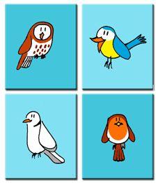 4 schilderijen op canvasdoek met bosvogeltjes.