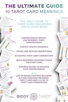 The Ultimate Guide to Tarot Card Meanings is a comprehensive guide to help you learn the meanings of Tarot cards. #biddytarot #learntarot #tarotcardmeanings #mastertarot #tarotbook #tarot #tarottribe