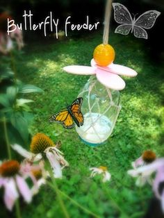 how to make a butterfly feeder -- instead of the wooden petals and bead on top, maybe a cute silk flower or two. also, paint the lid red (the butterfly garden in okinawa has red items for guests to wear to attract the butterflies!)