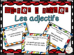 Cartes à tâches sur les adjectifs qualificatifs. Classroom Setup, Classroom Organization, French Grammar, French Phrases, French Classroom, Grammar And Vocabulary, French Immersion, Learn French, Adhd