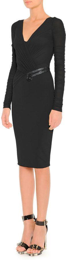 Versace Draped Illusion Overlay Crystal-Embellished Dress, Black