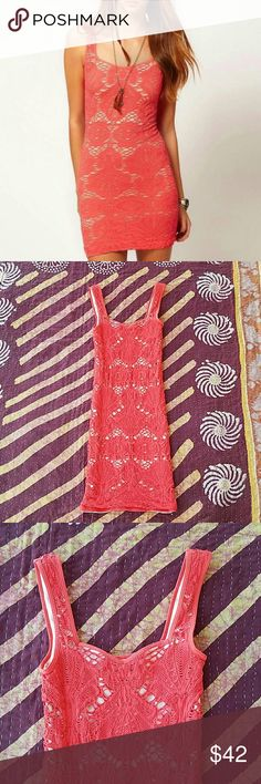Intimately Free People Orange Mesh BodyCon Dress Super fitted bodycon silhouette  Intricate design in mesh cutout  Mini length Stock images are to show fit, the color of actual item is that persimmon orange color  Made by Intimately Free People size XS  In good condition Free People Dresses Mini