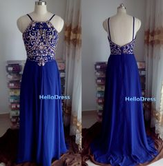 Long Prom Dress,Long Beaded Open Back Royal Blue Chiffon Prom Dress,Spaghetti Straps Prom Dress,Long Evening Dress Homecoming Dress on Etsy, $129.00