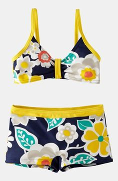 MinI really like the top detail. i Boden 'Surf' Two Piece Swimsuit (Little Girls & Big Girls) | Nordstrom