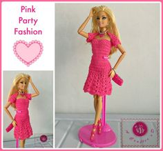 Crochet fashion doll strapless flared dress - Maz Kwok's Designs