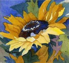 Beautiful Sunflower -=- Watercolor Art by Kathy Summers