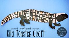 Most up-to-date Pics desert Animal Crafts Strategies Document eating plan family pets are a great little ones art idea. Nearly all are pretty simple a Gila Monster, Animal Art Projects, Animal Crafts For Kids, Toddler Crafts, Wild West Crafts, Lizard Craft, Reptile Crafts, Desert Crafts, Puppy Crafts