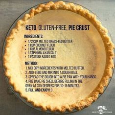 Keto, Gluten-Free Pie Crust Ingredients: cup melted grass-fed butter 1 cup coconut flour 1 cup almond flour 1 tsp himalayan salt 1 pasture raised egg Method: Mix dry ingredients with melted butter. Add 1 egg and mix into a dough ball. I'm very dubious tha Gf Recipes, Ketogenic Recipes, Low Carb Recipes, Cooking Recipes, Recipies, Coconut Flour Recipes Keto, Wheat Free Recipes, Almond Flour Desserts, Dairy Free Keto Recipes