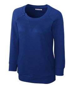 Take a look at the Cutter & Buck Blue Offside Three-Quarter Sleeve Top - Women & Plus on #zulily today!