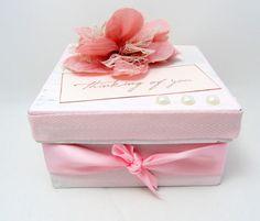 Pink and Ivory Keepsake Box - Small Keepsake Box - Gift Box - Shabby Chic - Thinking of You - Square Box - Pearl Embellishments - Feminine
