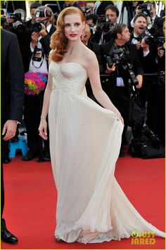 Jessica Chastain paired a Giorgio Armani dress with Chopard jewels at  'Madagascar 3' Premiere in Cannes!
