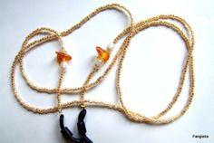 Cordon lunettes Miyuki Delica doré crème opalescent, ambre de la Baltique et perles de culture blanches : Lunettes, lunettes de soleil, cordons par fangiella