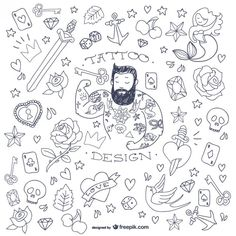 Tattoo man doodle symbols, free for download and use in personal or commercial projects