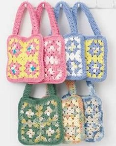 Crochet Granny Square Bags @kaboodle: Make this fun easy granny square bag from the most popular cotton 'Lily Sugar'n Cream'.