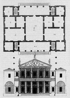 Plan, half-elevation half-section for the Villa Rotonda