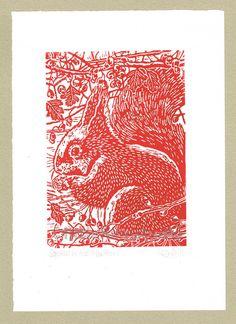 Red Squirrel in the Hawthorn  Linocut Original by littleRamstudio, £28.00