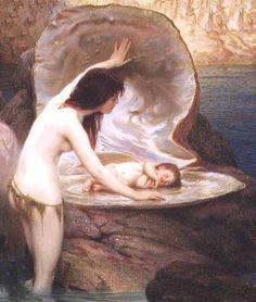 """O poeta quando nasce não chora como todos os recém nascidos declama sem saber o seu primeiro verso. (Miry) *Art : """"A water baby""""  – 1900 – by Herbert Draper"""
